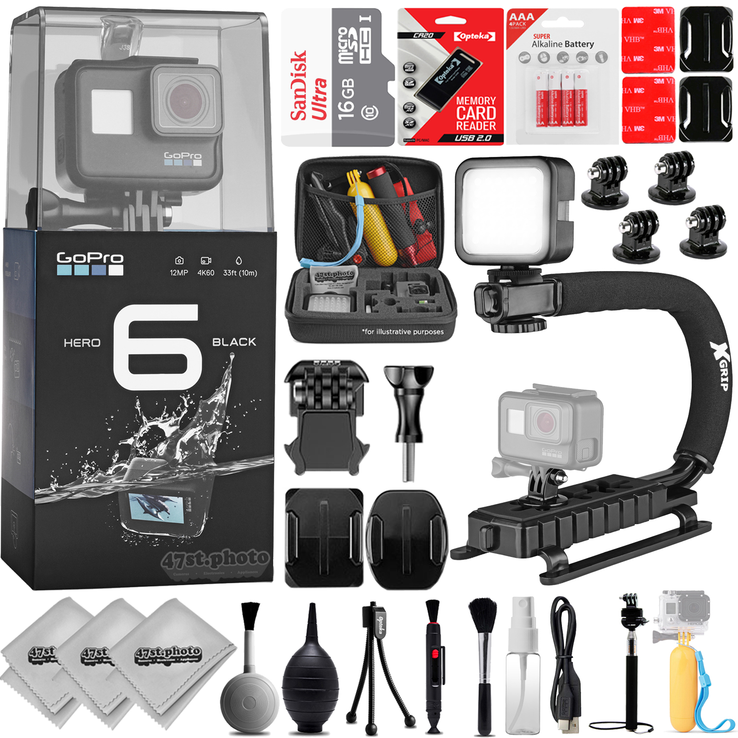 GoPro HERO6 Black 4K 12MP Digital Camcorder w/ 16GB - 23PC Sports Action Bundle (16GB Micro SD, Card Reader, 4PC Curved Adhesive Mount, High Power LED Light, X-GRIP Stabilizing Handle & More)