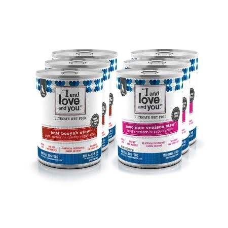 """I and love and you"" All Natural Wet Dog Food, Stew Variety Pack: Beef Booyah Stew & Moo Moo Venison Stew (3 Each, 6 Total)"