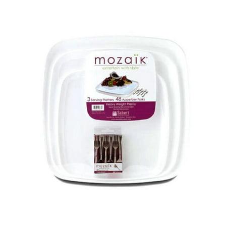 Mozaik Heavy Weight Plastic (3) Serving Platters (48) Appetizer Forks (Oxford Serving Fork)