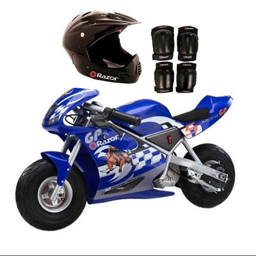 Razor Blue Pocket Rocket Bike + Sport Helmet And Pads | 15120040 + 97775 + 96785