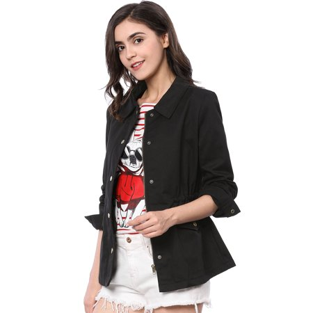 Women Drawstring Flap Pockets Military Jacket Coat Outerwear ()