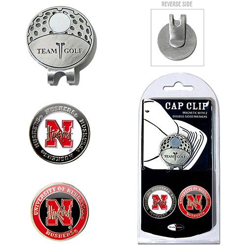 Team Golf NCAA Nebraska Cap Clip With 2 Golf Ball Markers