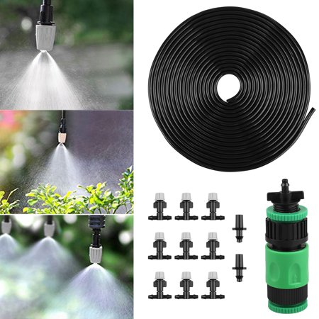 "Outdoor Misting Cooling System Kit, Garden Drip Irrigation Watering Kits, Great for Summer Mister Cooling and Plants Watering, 33FT (10M) Misting Line + 10PCS Adjustable Misting Nozzles + 3/4"" and 1/2 (House Plant Watering System)"