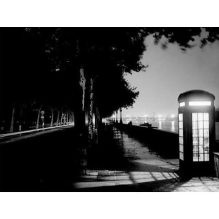 London Embankment 16x20 Art Print Poster London At Night ENGLAND Phone Booth Vintage Photograph Black and White - London England Halloween