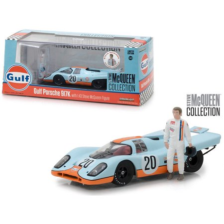 GREENLIGHT 1:43 STEVE MCQUEEN COLLECTION - GULF PORSCHE 917K WITH STEVE MCQUEEN FIGURE (Steve Mcqueen Blue Eyes)