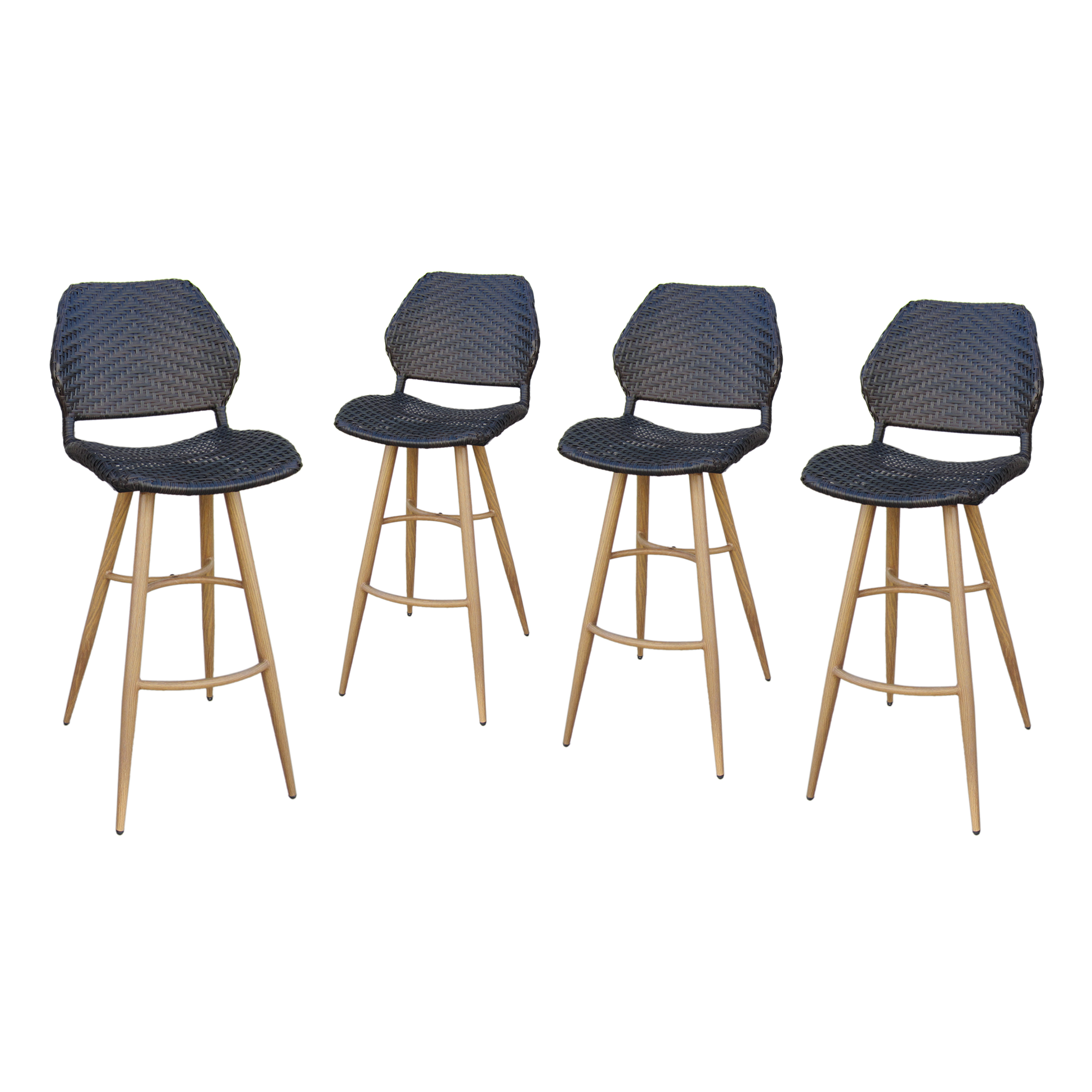Amaryllis Outdoor Wicker Barstools with Metal Legs, Set of 4, Multibrown and Brown Wood Finish