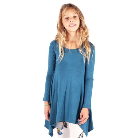 Lori&Jane Girls Blue Solid Color Long Sleeved Hanky Hem Tunic - Dress With Handkerchief Hem