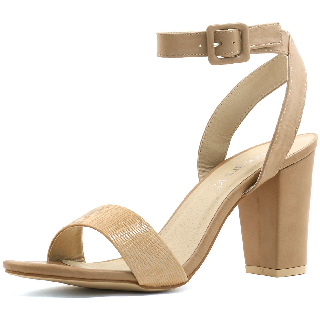 Unique Bargains Women's Textured Vamp Chunky Heel Ankle Strap ...
