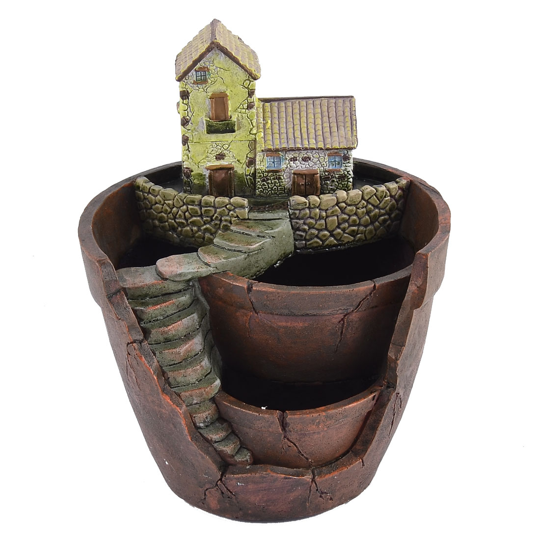 Unique Bargains Home Garden Office Resin House Shaped Aloes Cactus Plant Flower Pot Brown Green