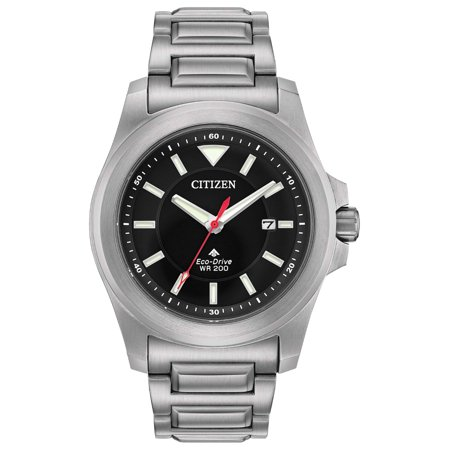 Citizen Eco Drive Stainless Steel Watch - Citizen Men's Postmaster 200M ECO Drive Titanium Coating on Stainless Steel Watch BN0211-50E
