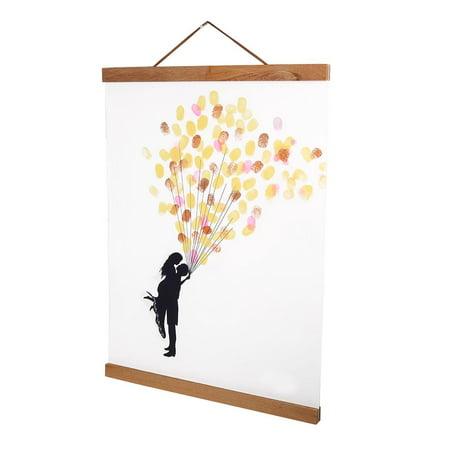 HURRISE Modern Magnetic Wooden Photo Frame DIY Custom Poster Scroll Prints Artwork Hanger Teak Wood, Poster Hangers, Wooden Poster Hanger