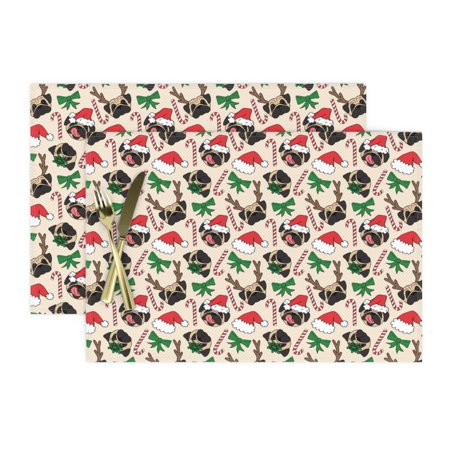 Image of Cloth Placemats Pug Dogs Dog Pattern Christmas Pattern Pet Lovers Dog Set of 2