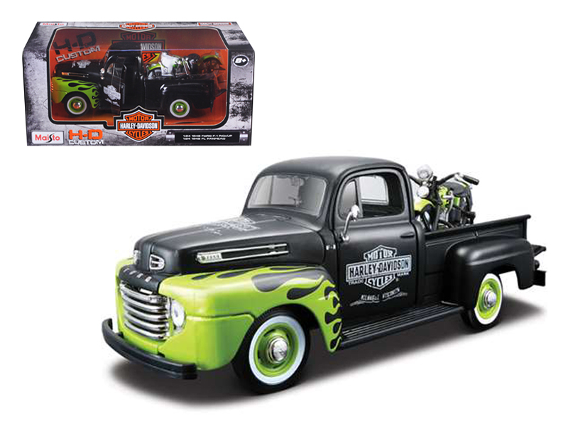1948 Ford F-1 Pickup Truck Harley Davidson With 1948 FL Panhead Motorcycle Black Green 1... by Maisto