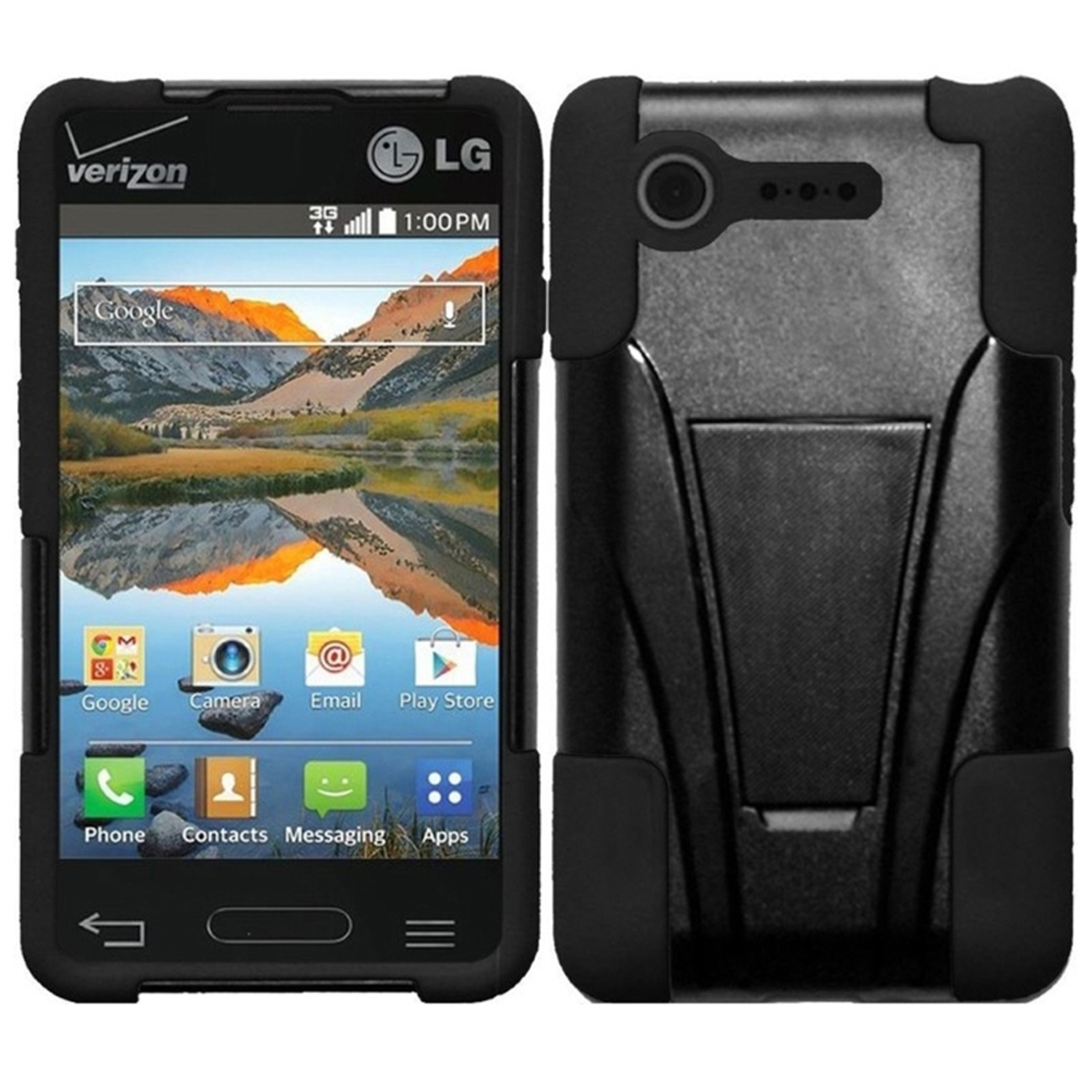 Insten Black+Black Hybrid Hard T-Stand Protective Case For LG Optimus Zone 2 VS415PP L34C Fuel
