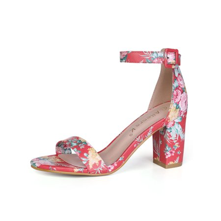 852cbcb4ca1 Unique Bargains Women s Open Toe Chunky Heel Printed Ankle Strap Sandals  Light Gray (Size 8 ...