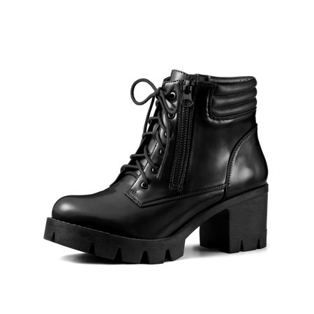 b2373667b36 Women's Chunky Heel Lace Up Zipper Combat Boots Black (Size 8.5)