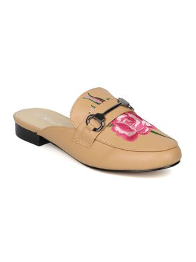 New Women Nature Breeze Gosh-05 Leatherette Embroidered Flat Loafer Slide