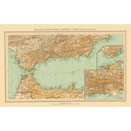 Detailed Map Of Southern Spain.Old Iberian Peninsula Map Southern Spain Touring Club Italiano