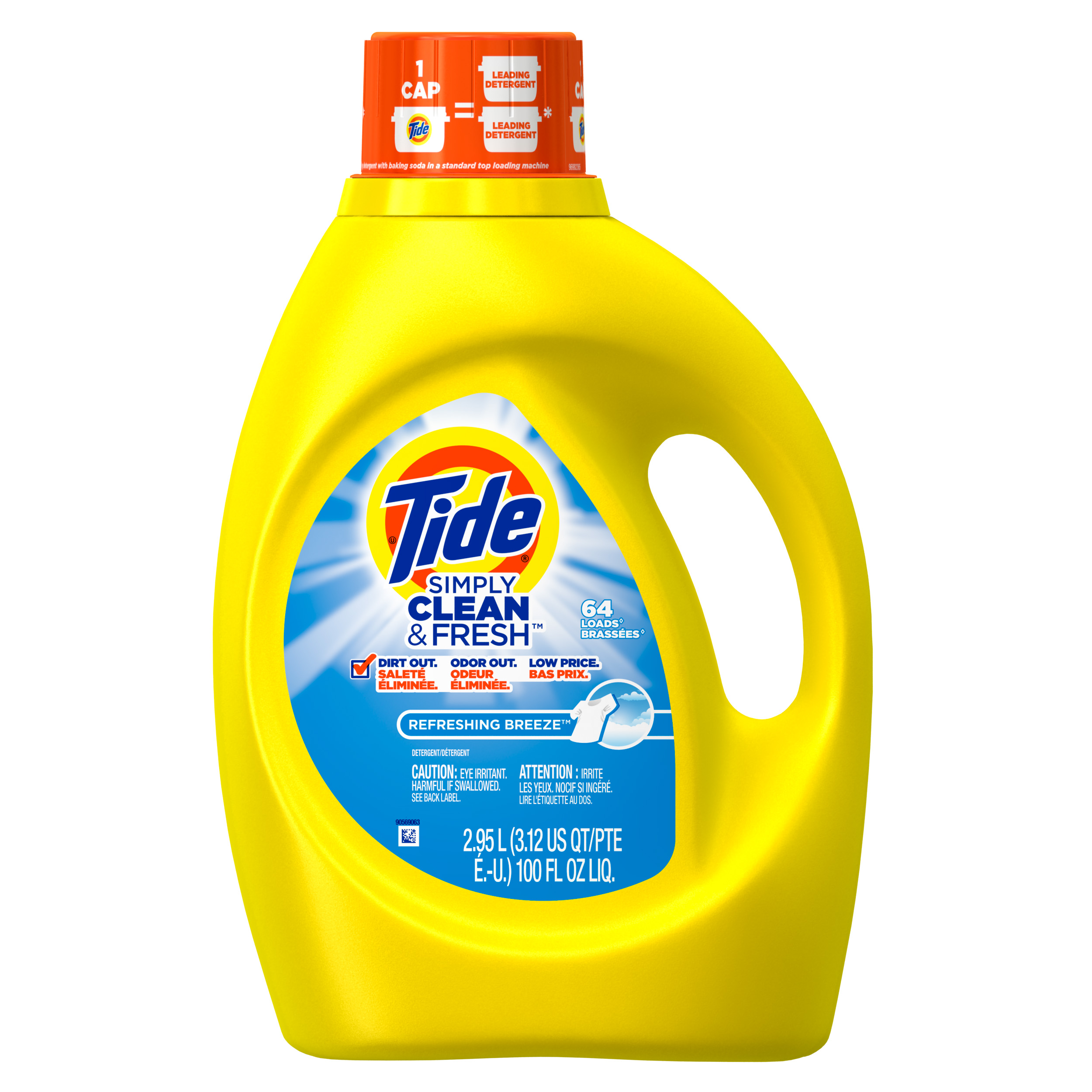 Tide Simply Clean & Fresh HE Liquid Laundry Detergent, Refreshing Breeze Scent, 64 Loads, 100 Oz