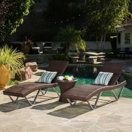 Ojai 3 piece outdoor wicker chaise lounge set for Belmont 4 piece brown wicker patio chaise lounge set