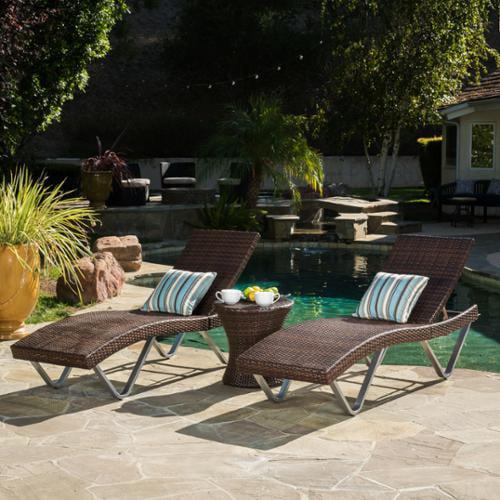 Ojai 3 Piece Outdoor Wicker Chaise Lounge Set