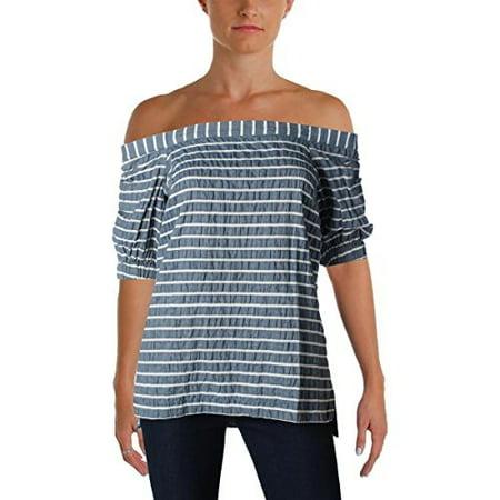 ralph lauren lauren womens vorence striped off-the-shoulder pullover top blue s (Ralph Lauren Clothing Women)