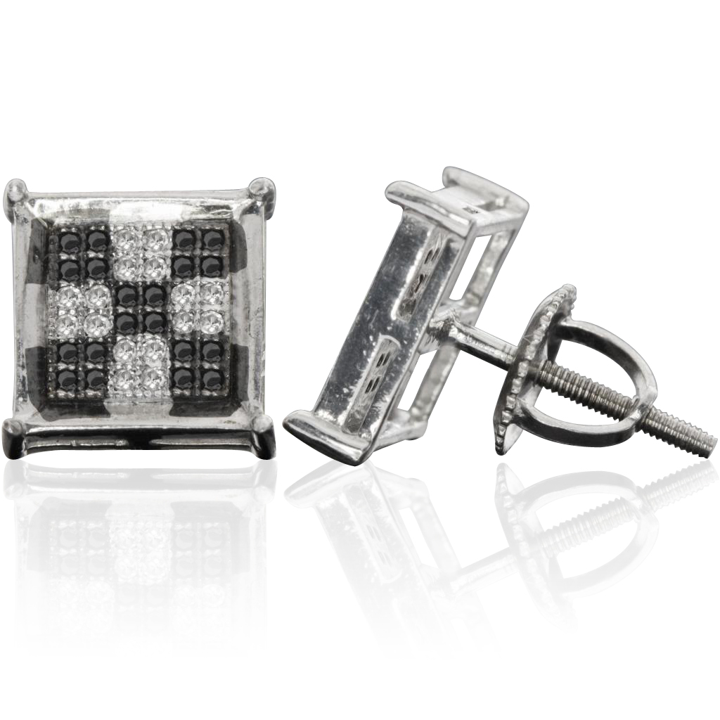 Sterling Silver 10MM Checkered Four Prong Micro Pave Diamond Stud Earrings (0.28 cttw, H-I color, I1-I2 Clarity)