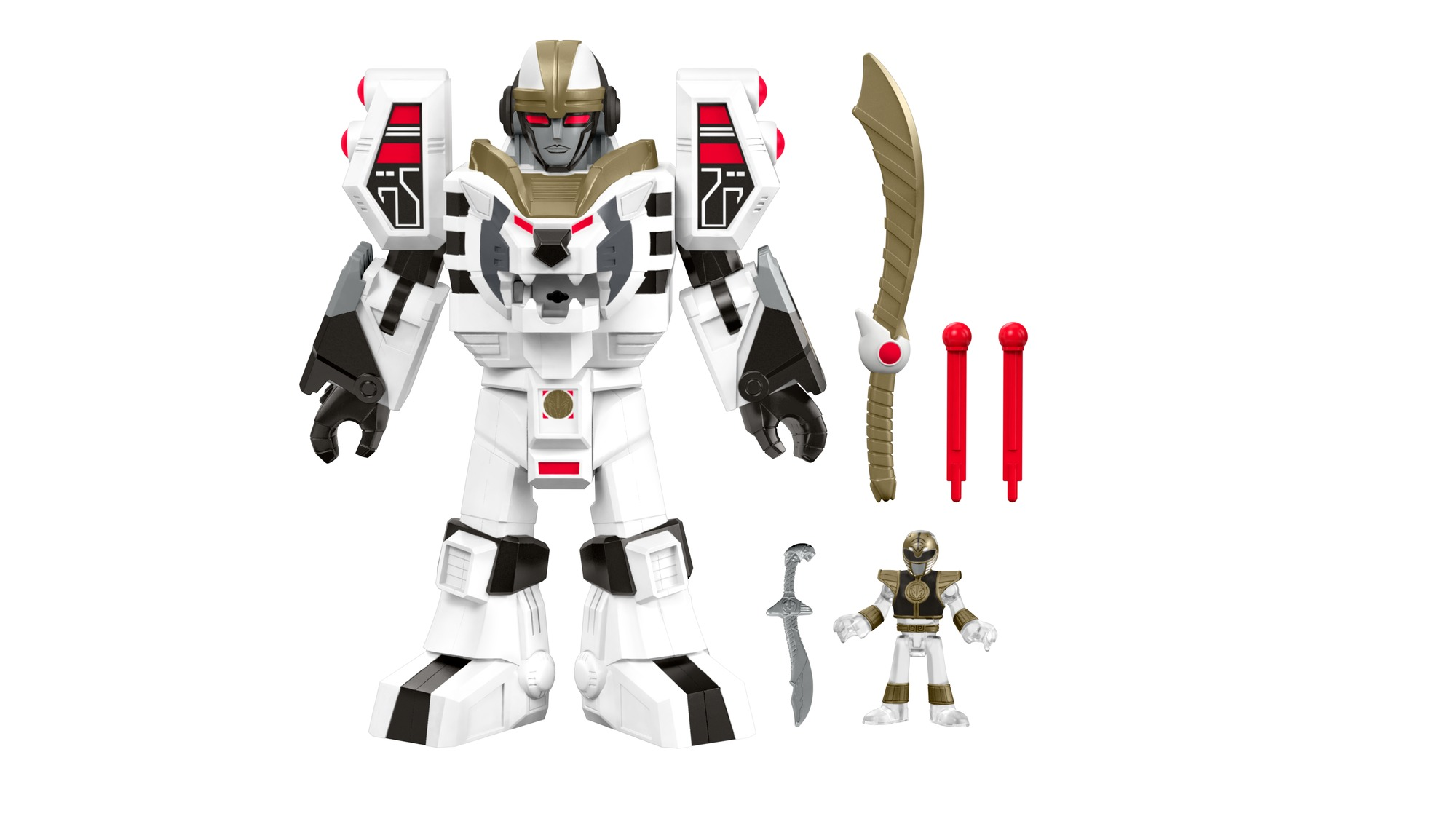 Fisher Price IMaginext Power Rangers White Ranger & Warrior Mode Tigerzord by Fisher-Price