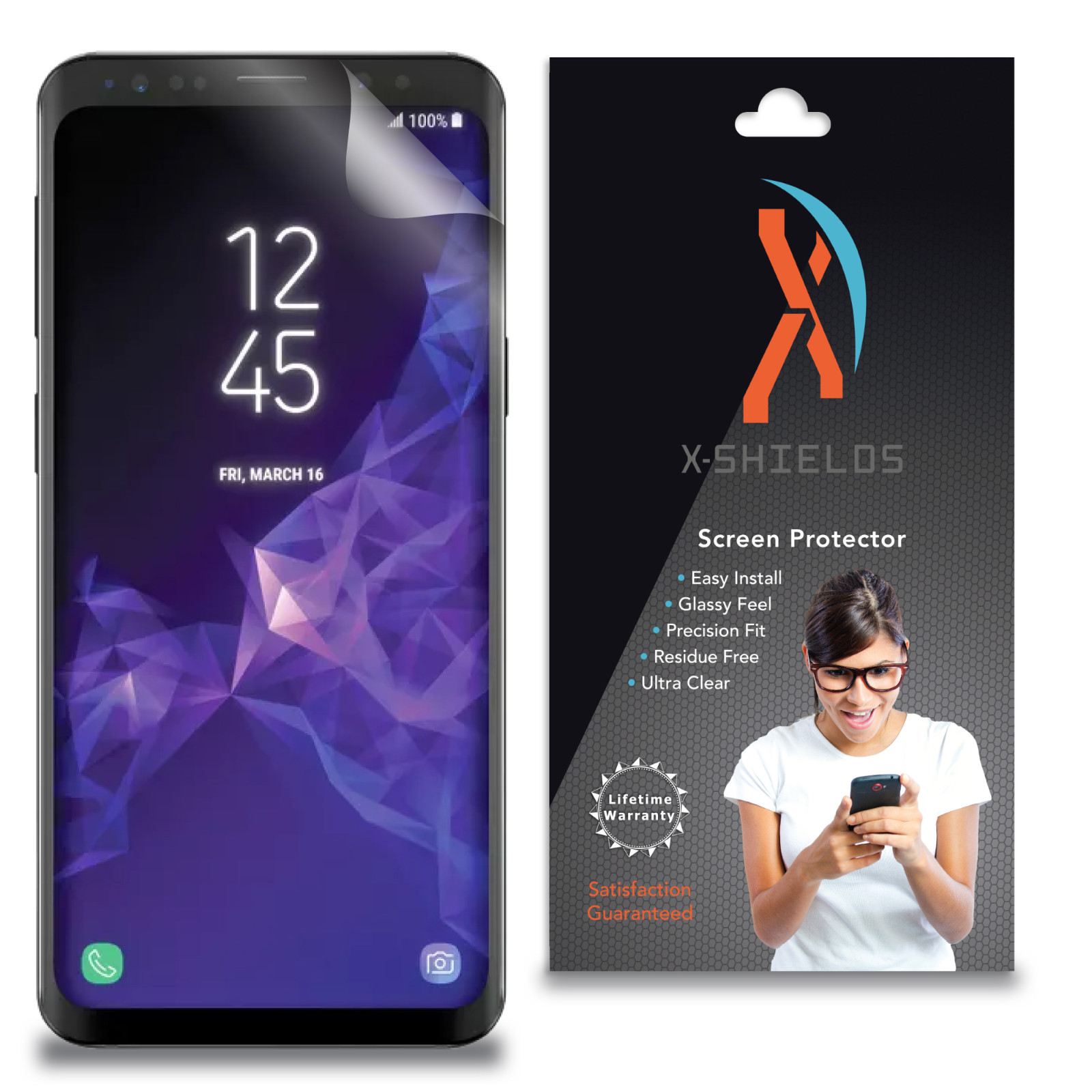 XShields© High Definition (HD+) Screen Protectors for Samsung Galaxy S9 Plus (Maximum Clarity) Super Easy Installation [3-Pack] Lifetime Warranty, Advanced Touchscreen Accuracy