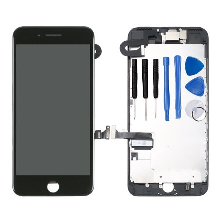 Ayake Full Display Assembly for iPhone 7 Plus Black LCD Screen Replacement with Front Facing Camera and Speaker Pre-Assembled (All Required Tools - Original Replacement Lcd Display Screen
