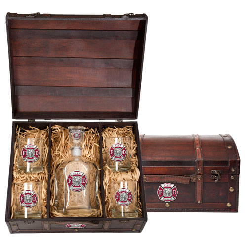 Fire Fighter Capitol Decanter Chest Set