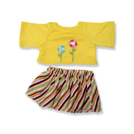 Yellow Top And Stripe Skirt Outfit Teddy Bear Clothes Fits Most 14     18   Build A Bear  Vermont Teddy Bears  And Make Your Own Stuffed Animals
