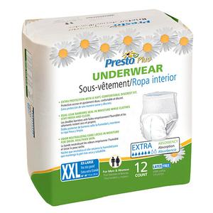 Presto Maximum Absorbency Underwear,  2XL (68'' to 80'' Waist) White, Case of 48