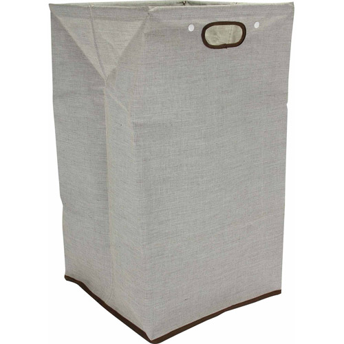 Household Essentials Lunch Bag Style Laundry Hamper with Snap Closure, Beige
