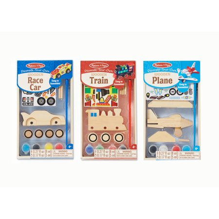 Melissa & Doug Decorate-Your-Own Wooden Craft Kits Set - Plane, Train, and Race Car (Melissa And Doug Stacking Train)