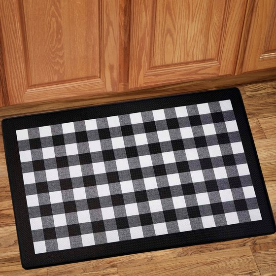 White Kitchen Floor Mats: Buffalo Check Printed Anti-Fatigue Kitchen Floor Rug Mat