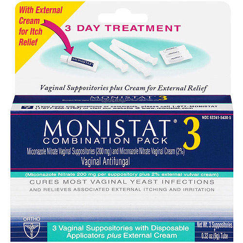 Monistat 3 Miconazole Nitrate Suppositories & Cream, Combination Pack, 3ct