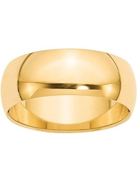 10KY 8mm Half Round Band Size 7