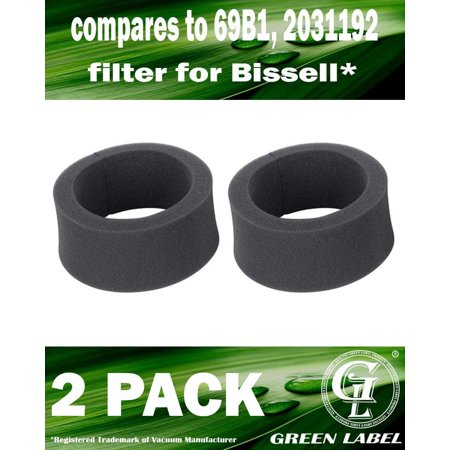 Outer Circular Filter (2 Pack For Bissell Foam Outer Circular Vacuum Filter (compares to 69B1, 2031192). For Bissell Upright Vacuum Cleaners. Genuine Green Label)