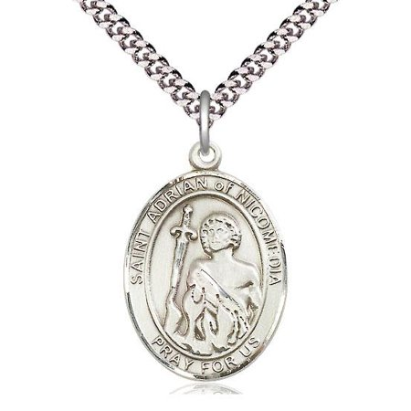 "Bliss St. Adrian of Nicomedia Patron Saint Medal in Sterling Silver with 24"" Light Rhodium Heavy Curb Chain"