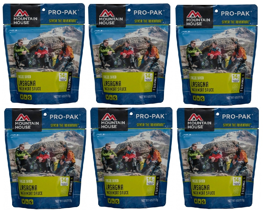 Mountain House Freeze Dried 6 Food Pouches- Lasagna with Meat Sauce Pro-Pak by Mountain House