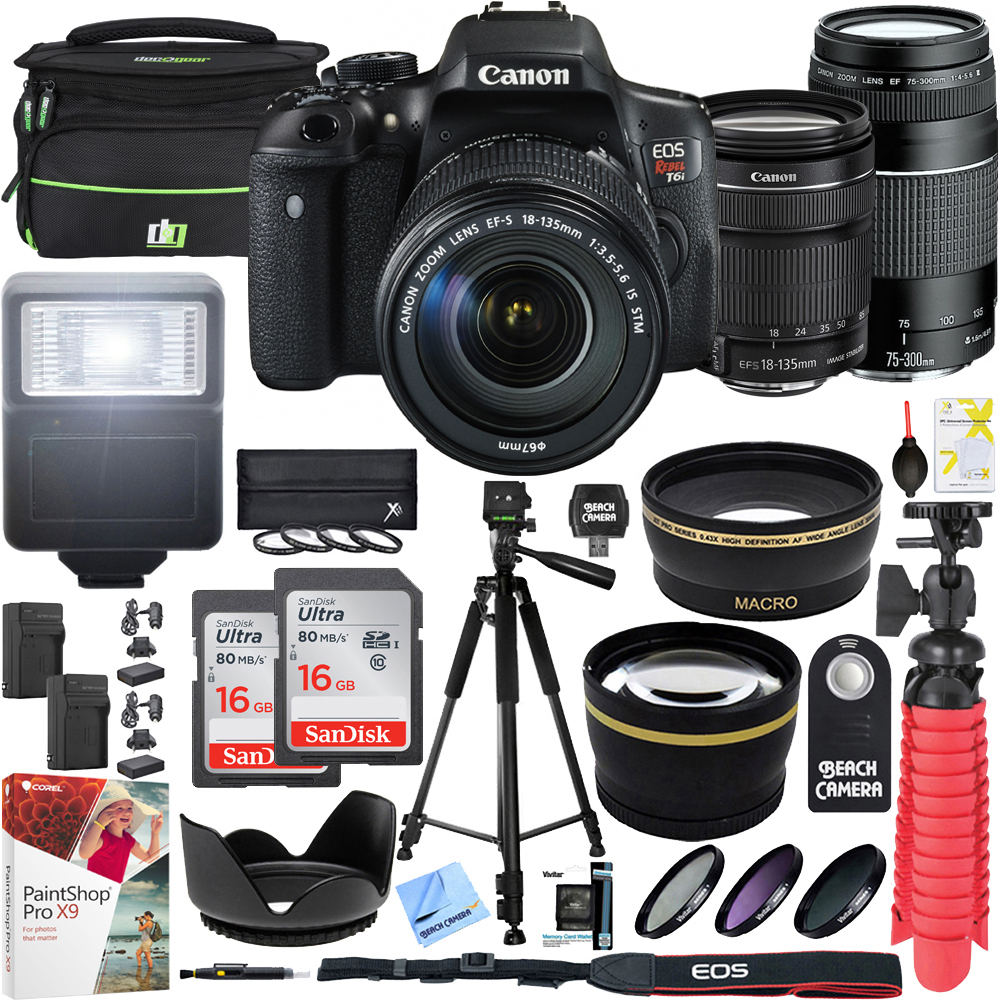 Canon T6i EOS Rebel DSLR Camera with EF-S 18-135mm f/3.5-5.6 IS STM and EF 75-300mm f/4-5.6 III Dual Lens Kit and Triple Battery Tripod 2x 16GB SDHC Memory Card Accessory Bundle