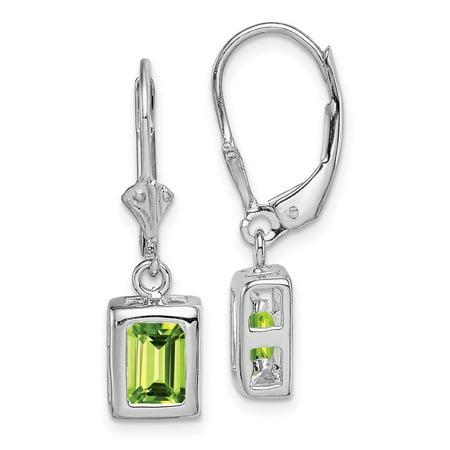 Roy Rose Jewelry Sterling Silver 7x5mm Emerald Cut Peridot Leverback
