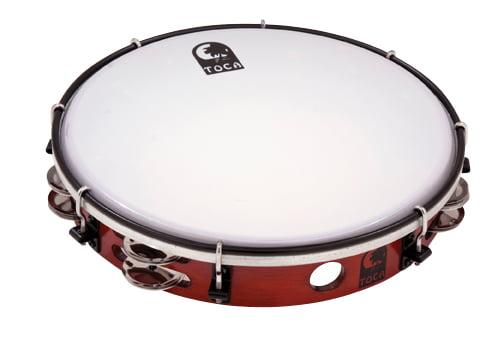Toca T1010D Acacia Wood Tambourine 10-Inch Single Row Dark Wood Matte Finish