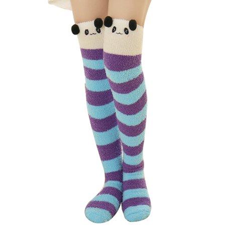 1 Pair Thigh High Socksaniwon Cute Pattern Warm Over The Knee High