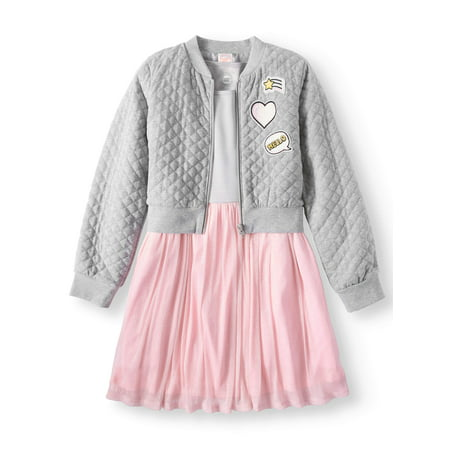 Dress and Quilted Bomber Jacket, 2-Piece Outfit Set (Little Girls & Big Girls)