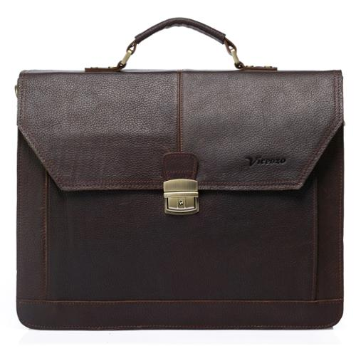 Vicenzo Leather Dark Brown Professional Grain Leather Briefcase Messenger Bag
