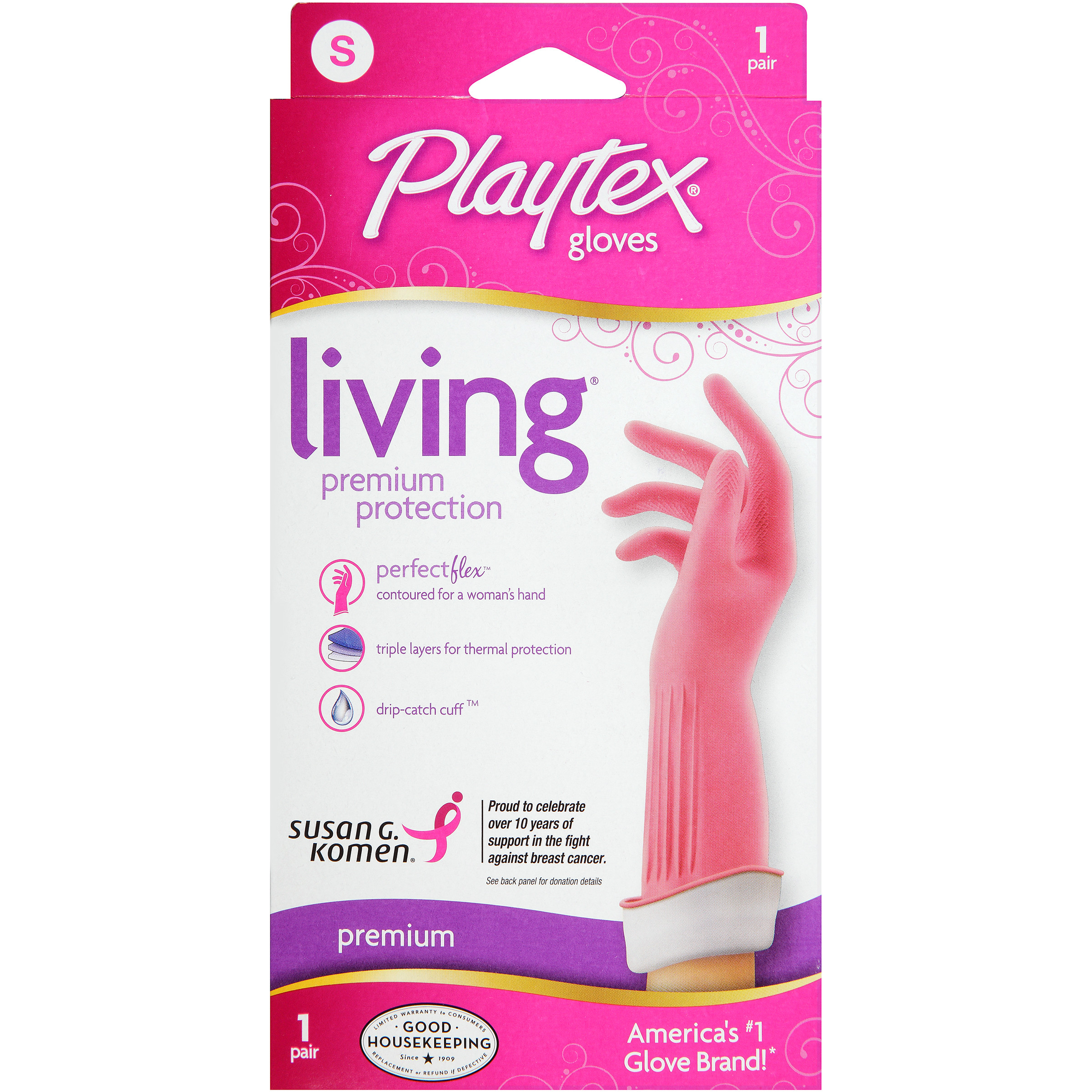 Playtex Living Reusable Gloves With Drip-catch Cuff Small - 1 Pair