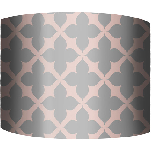 "12"" Drum Lamp Shade, Fleur Pink and Gray"