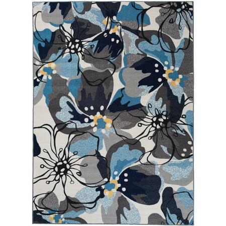 World Rug Gallery Grey/Blue Nylon Modern Large Floral Non-slip Non-skid Area Rug or Runner ()